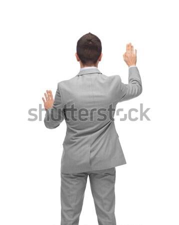 Zakenman wijzend vinger aanraken iets zakenlieden Stockfoto © dolgachov