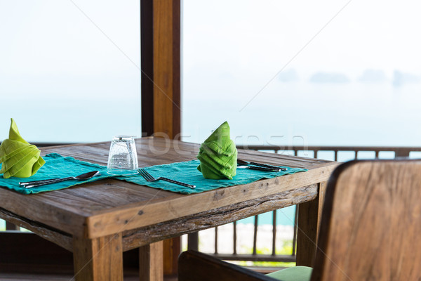 close up of table setting at restaurant in asia Stock photo © dolgachov