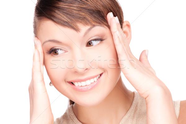 Stock foto: überrascht · Frau · Gesicht · hellen · Bild · weiß · Frau