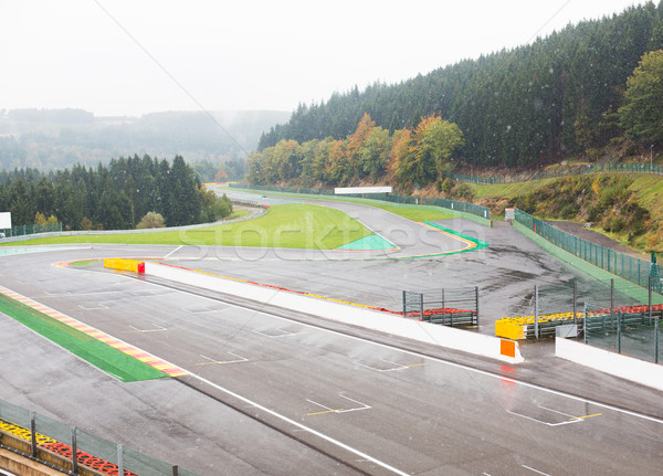 close up of race track or road and snow Stock photo © dolgachov