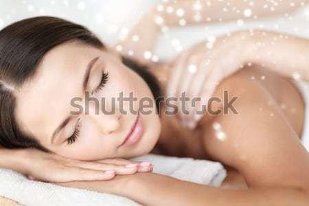 幸せ 笑みを浮かべて 少女 目が覚める ベッド ライト ストックフォト © dolgachov