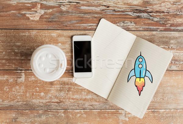 Zdjęcia stock: Notebooka · filiżankę · kawy · smartphone · działalności · edukacji
