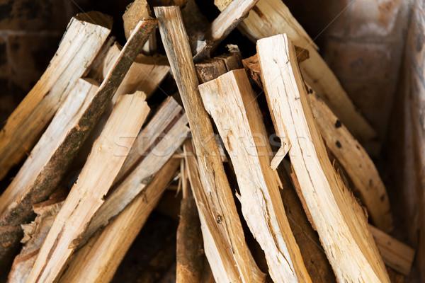 Közelkép tűzifa kandalló fűtés melegség retro Stock fotó © dolgachov