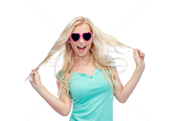 happy young blonde woman or teenager in sunglasses Stock photo © dolgachov