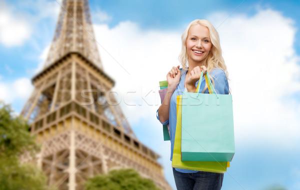 Kadın Paris Eyfel Kulesi insanlar tatil Stok fotoğraf © dolgachov