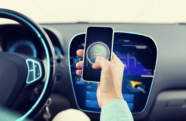 hands with start engine icon on smartphone in car Stock photo © dolgachov