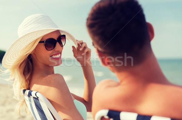 幸せ カップル 日光浴 夏 ビーチ 愛 ストックフォト © dolgachov