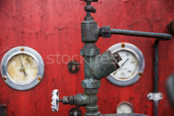 close up of vintage valve mechanism at factory Stock photo © dolgachov