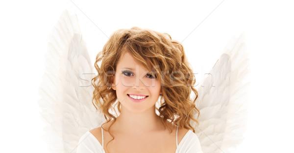 Boldog fiatal nő tinilány angyalszárnyak emberek ünnepek Stock fotó © dolgachov