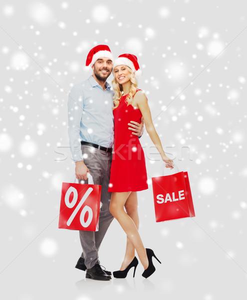 Foto stock: Feliz · casal · vermelho · neve · pessoas