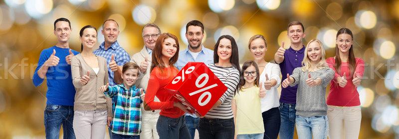Boldog emberek százalék felirat mutat remek vásár Stock fotó © dolgachov