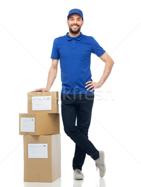 Gelukkig dozen levering dienst Stockfoto © dolgachov