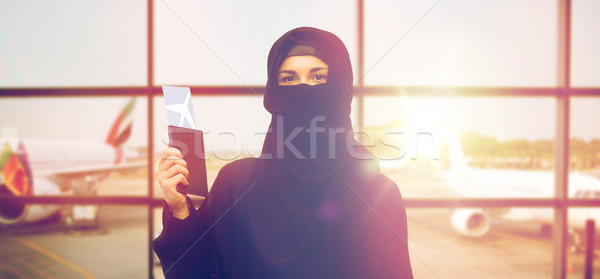 muslim woman with ticket and passport at airport Stock photo © dolgachov