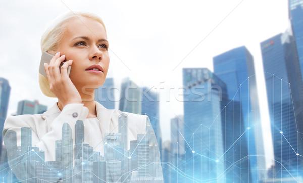 Sério empresária cidade negócio tecnologia Foto stock © dolgachov