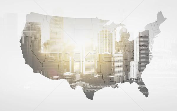 Harita Amerika Birleşik Devletleri Amerika şehir ekonomi iş Stok fotoğraf © dolgachov