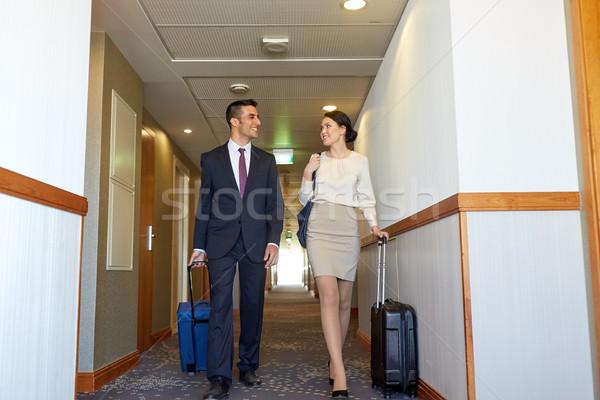 бизнес-команды путешествия мешки отель коридор командировка Сток-фото © dolgachov