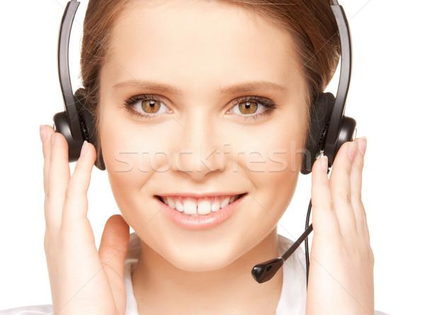 Segélyvonal fényes kép barátságos női kezelő Stock fotó © dolgachov