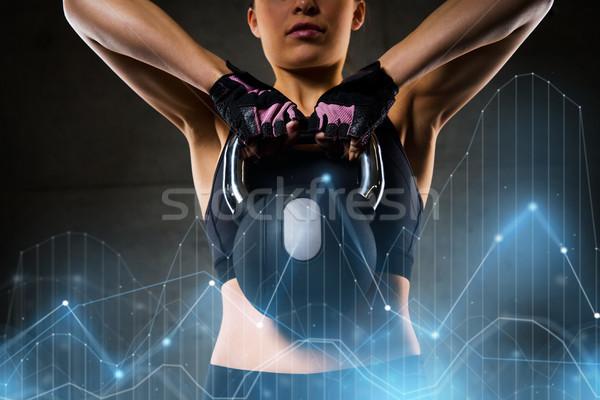 女性 ケトルベル ジム フィットネス スポーツ 行使 ストックフォト © dolgachov