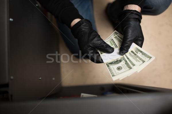 Tolvaj lop pénz széf bűnügyi helyszín lopás Stock fotó © dolgachov