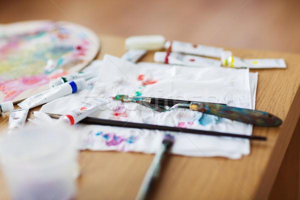 Palety nóż farby papieru tkanka Zdjęcia stock © dolgachov