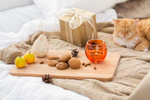 oatmeal cookies, christmas gift and candle in bed Stock photo © dolgachov