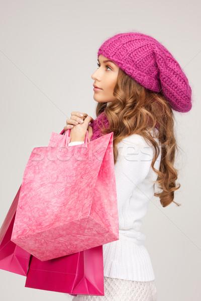 買い物客 画像 女性 ショッピングバッグ 少女 幸せ ストックフォト © dolgachov