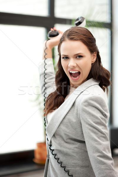 ストックフォト: 女性実業家 · 電話 · 明るい · 画像 · 怒っ · ビジネス