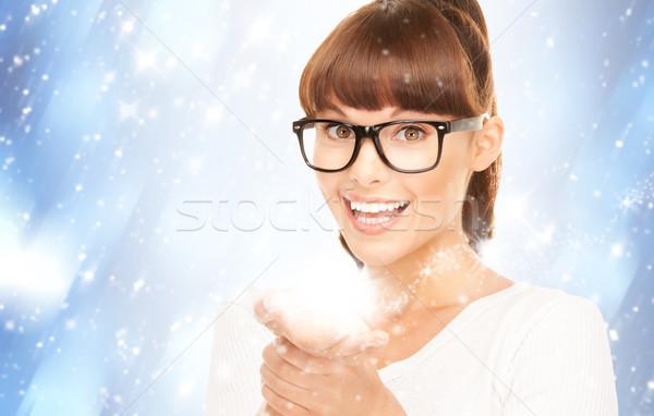 Magie palmiers belle femme mains femme portrait Photo stock © dolgachov