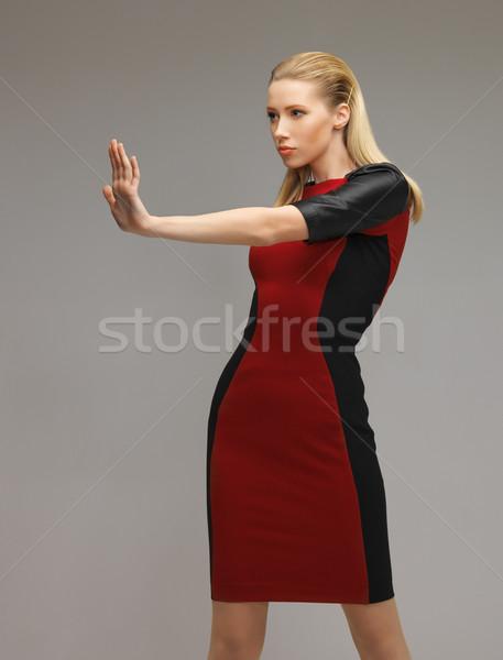 Nő dolgozik valami képzeletbeli kép futurisztikus Stock fotó © dolgachov