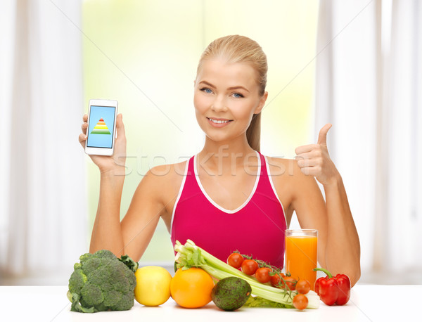 woman with fruits, vegetables and smartphone Stock photo © dolgachov
