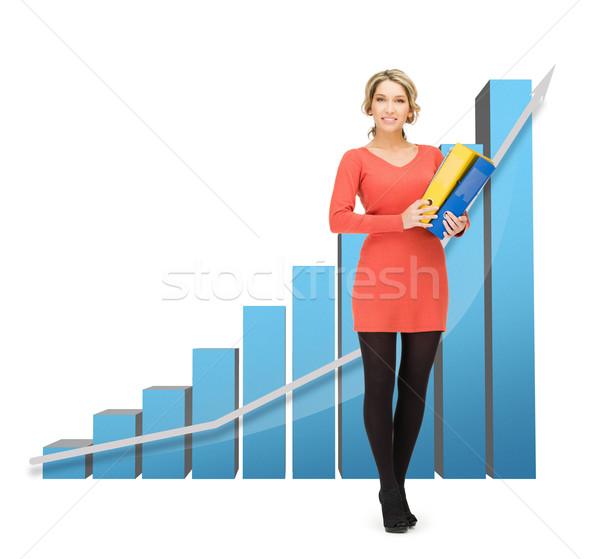 деловая женщина большой 3D диаграммы красивой Сток-фото © dolgachov