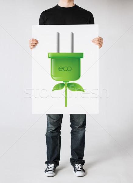 Zdjęcia stock: Ręce · zdjęcie · zielone · wtyczkę