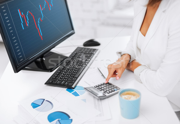 woman hand with calculator, papers and monitor Stock photo © dolgachov