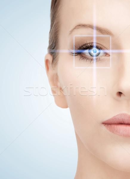 Foto stock: Mulher · olho · laser · correção · quadro · saúde