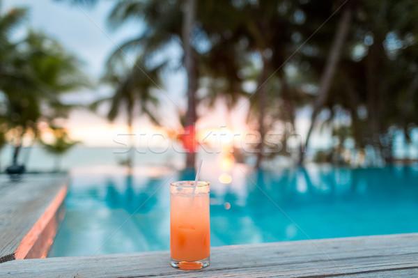 Kokteyl içmek tropikal plaj yaz plaj boş Stok fotoğraf © dolgachov