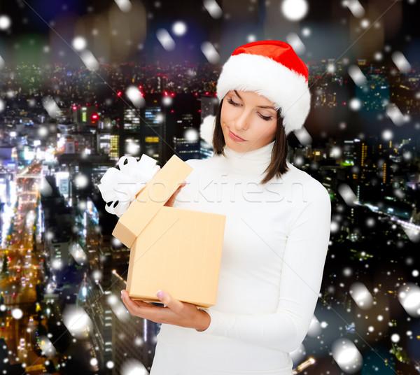 女性 サンタクロース ヘルパー 帽子 ギフトボックス クリスマス ストックフォト © dolgachov