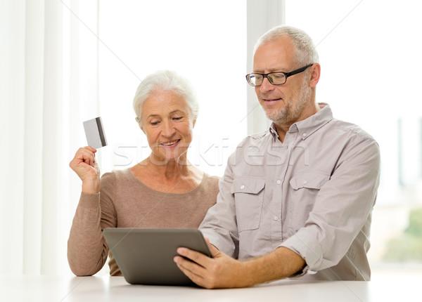 Felice carta di credito famiglia tecnologia Foto d'archivio © dolgachov