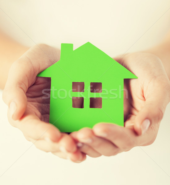 woman hands holding green house Stock photo © dolgachov