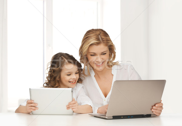 mother with girl looking to laptop and tablet pc Stock photo © dolgachov