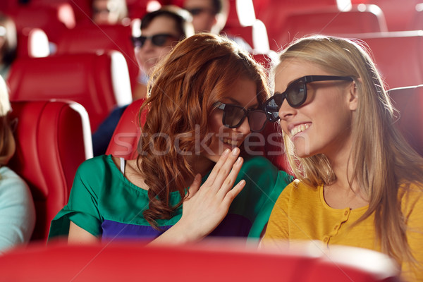 happy friends watching movie in 3d theater Stock photo © dolgachov