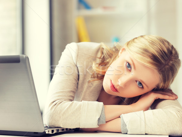 tired woman with laptop computer Stock photo © dolgachov