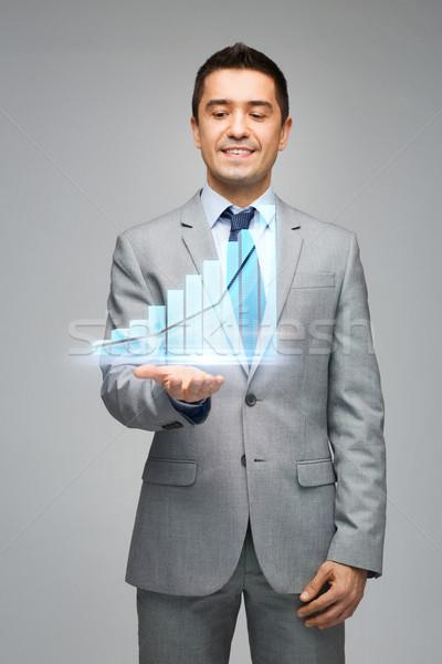 Gelukkig zakenman tonen virtueel grafiek projectie Stockfoto © dolgachov
