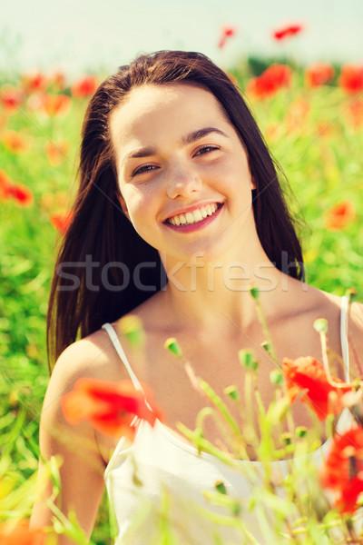 Foto stock: Sorridente · mulher · jovem · papoula · campo · felicidade · natureza