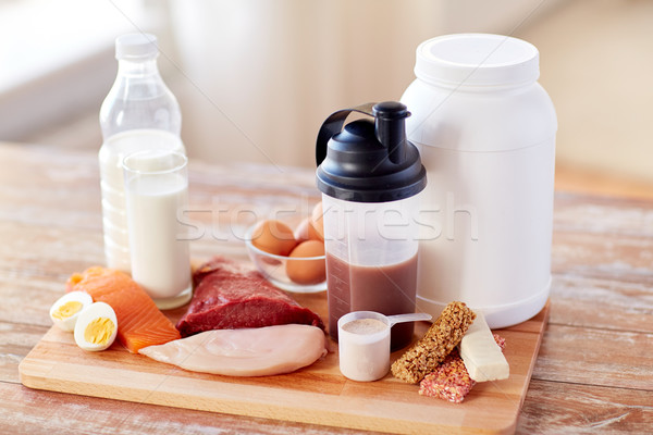 close up of natural protein food and additive Stock photo © dolgachov
