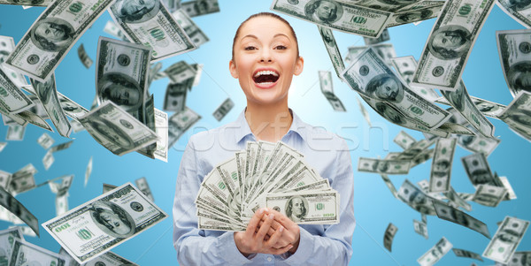 Heureux rire femme d'affaires dollar argent affaires Photo stock © dolgachov
