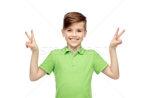 мира победу рукой знак жест Сток-фото © dolgachov