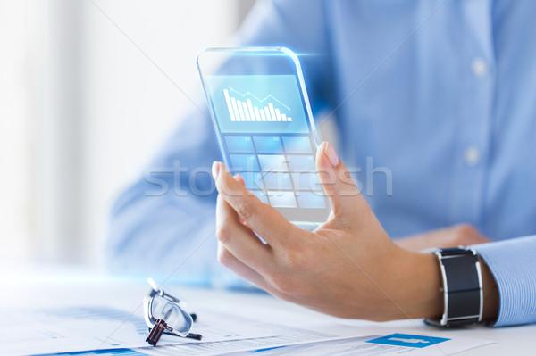Közelkép nő átlátszó okostelefon üzlet technológia Stock fotó © dolgachov