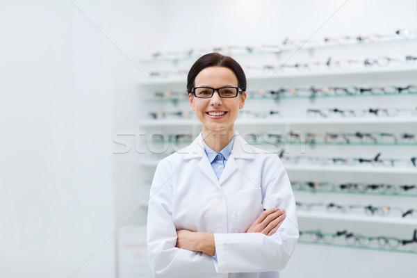 Stok fotoğraf: Kadın · gözlükçü · gözlük · kat · optik · depolamak