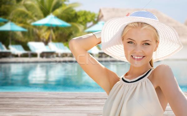 Belle femme été plage personnes vacances Photo stock © dolgachov