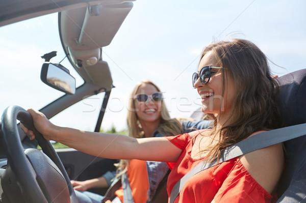 幸せ 若い女性 運転 二輪馬車 車 夏 ストックフォト © dolgachov